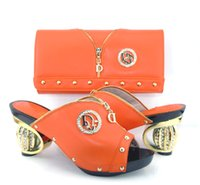 african shoe bag - th16 orange New Fashion square design Italian shoe and bag Combination leather African party shoe and bag set for