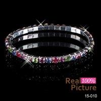achat en gros de elastic-Livraison gratuite! La vente élastique chaude de 1 rangée de sangle a plaqué les bracelets nuptiaux de bracelet en cristal Party la bijou 15010