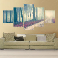 art path - 5 Panel Modern No Frame Pintura Mountain Path Canvas Oil Painting Art Cuadros Decoracion Picture Peinture Painting Art