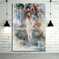 beautiful portrait paintings - Hand painted Impression Abstract Portrait Oil Painting On Canvas Handmade Beautiful Lady Walking With Flowers Oil Paintings