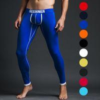 Cheap Top Quality Man Cotton Thermal Long Johns Winter Warm Leggings U Pouch tight legging Underpants soild color