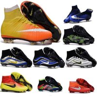 Wholesale Original Children Kid Mercurial Superfly FG CR7 Kids Boys Magista Soccer Cleats Boots Hypervenom Football Shoes Mens High Ankle Womens