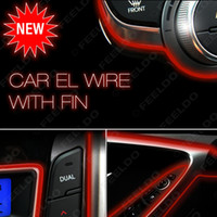 Wholesale 5set Red m Flexible Moulding EL Neon Glow Lighting Rope Strip with fin for Car Decoration