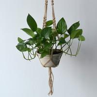 Wholesale New Arrival Hemp Rope Plant Holder Hanging Planter Basket Holder Flowerpot Hanging Basket Bracketplant Stents JR5001