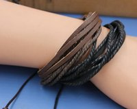 bead wrap bracelet diy - Genuine Leather Bracelet Wax Rope Braided Leather Bracelet Braided Charm Wrap Leather Bracelet DIY Men Women Unisex