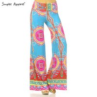 Cheap Wholesale-Simplee apparel Exuma Palazzo pants female boho elastic high waist flare pants baggy Women casual loose preppy trousers summer