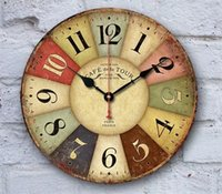 Wholesale 12in Creative D The Mediterranean antique style Wooden digital decorative wall mounted clock FOR bedroom