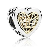 Wholesale Gold Heart Hollow Charm Sterling Silver European Charms Bead Fit Pandora Bracelet Snake Chain Fashion DIY Jewelry