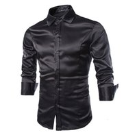 Wholesale New Brand Fashion Mens Long Sleeve Silk Dress Shirts Male Casual Social Shirt Slim Fit Camisa Masculina C54