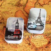 big blue pill - Elizabeth Tower big ben Eiffel tower Tin Storage Box Retro Metal Jewelry Case pill case mini candy