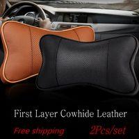 Wholesale For Alfa Romeo cowhide leather Car headrest set Leather neck seat cushion pillow Neck Auto Safety Pillow
