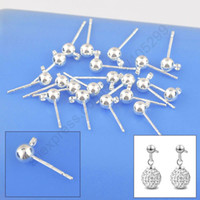 Wholesale 100PCS Fine Jewellery Findings Real Pure Sterling Silver Stud Earring Ear Pin MM Ball Beads Head