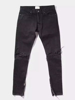 slim fit jeans - New Hot Fashion Fear of God FOG zippers skinny slim fit mens Distressed justin bieber black cotton Denim jeans men jean