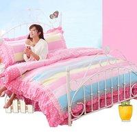 Wholesale Promotion Sales Princess Girls Bedclothes Lovely Printed Duvet Cover Set Home Textile Lace Bedding Set JA0135 kevinstyle