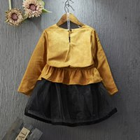 american girl collection - Fashion Baby Girls New Collection Cotton Patchwork Mesh Dress Boat Neck Contrast Color Tutu Girls Dress