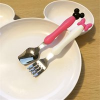 baby spoon stainless - Baby Feeding Mickey Minnie Cartoon Design Tableware Set Dinner Set Children Baby Stainless Steel Creative Portable Tableware Fork Spoon