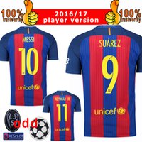 Wholesale 2017 Champions League Player Version Soccer Jersey Home Messi Soccer Jerseys Neymar Suarez Iniesta Pique Football Jeresys