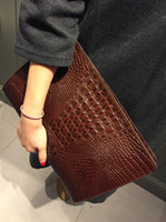 aligator leather - Hot New Designer Bags Aligator Genuine Leather Envelope Bag Fashion Clutch for Women Korean Style Bag