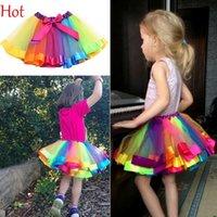 ballet bows - Fashion Kids Clothes Baby Girl Tutu Dance Wear Skirts Ballet Pettiskirt Colorful Dance Rainbow Skirt Ruffled Birthday Party Skirt SV029861