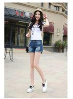 Cheap 2016 summer new light-colored bead waist breathable absorbent Korean fashion denim shorts hole denim shorts female
