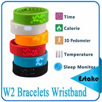 Wholesale W2 Bracelets Smart Wristband fitbit Watch Slim Bracelet Watches Wristband Rushed Step Fitness Tracker D Pedometer Sleep Monitor Thermometer