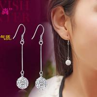 Wholesale crystal Princess Ball Earrings long tassel explosion Crystal Studded Earrings Ear jewelry lovely ball drill