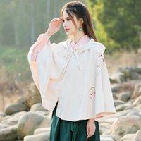 Wholesale China wind Retro Womens hand painted short cloak coat Hanfu elements ancient folk style cloak shawls