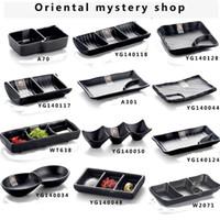 Wholesale Imitation porcelain Japanese sushi bar plates grind arenaceous black plate creative hotpot sauce melamine tableware snack plate