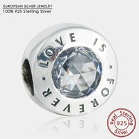 Cheap 2016 Mother's Day 925-Sterling-Silver AAA Clear CZ and Love Is Forever Charms Beads Diy Brand Logo Bracelets For Jewelry Making