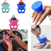 Wholesale Silicone Wearable Ring Nail Polish Bottle Holder Flexible Multifunction Wearable Art Tips Polish Stand Holder Bonbon Soft Finger Ring Bottle