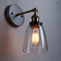 bedside wall light fixtures - Loft Vintage Industrial Edison Wall lamps Clear Glass Wall Sconce Warehouse Wall Light Fixtures E27 V V Bedside Lighting