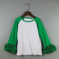 Wholesale kids long sleeve icing raglan shirts dress girl ruffle top icing shirts girls tee t shirts dress