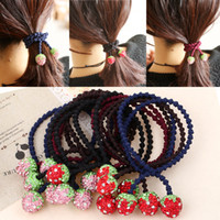 Wholesale Colorfull cute rhinestones strawberry ponytail scrunchy high quality handmade lady hair accessories