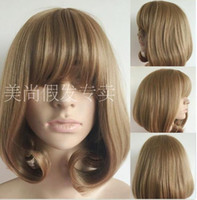 air wigs - 30 cm Long Thin Shallow Brown Air Bang Wig Female Hair Bobo Inside Buckle Short Bob Fluffy Pear Flower Head Set
