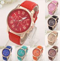 analog holiday - 2016 Luxury watch Geneva Roman Numerals men watch Faux Leather Analog Quartz Wrist women Watches sports watch christmas holiday gifts new