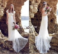beach brushes - New Summer Anna Campbell Lace Beach Bohemian Wedding Dresses Cap Sleeves Open Back Brush Train Sheath Bridal Gowns Custom Made Cheap