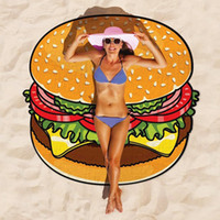 beach towel - 100pc Design Round Donut Pizza Hamburger Towel Beach Cover Ups Sexy Beach Towel Chiffon Swimsuit Cover Up Yoga Mat