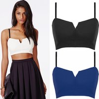 Wholesale H F Sexy Women Crop Top Plunge V Cut Solid Color Zip Back Strappy Unpadded Bralet Party Bra tanks camis Black Blu