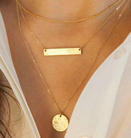 american gold bar - 2016 HOT Selling Simple Bar Necklace pendant Gold Plated Multilayer Vintage Jewelry Statement Round Metal Necklace for Women Jewelry