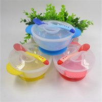 baby feeding bowl with suction - 2pcs Set Baby PP Feeding Dinnerware Set Infant With Suction Cup Bowl And Temperature Sensing Spoon Set Kids Training Tableware
