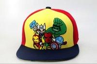 Niños Marvel Comics Snapback Niños Snapbacks de dibujos animados Hombre de hierro Linterna Verde Thor Capitán América sombreros Gorras Sombrero de playa Sun Hat Brim Cap