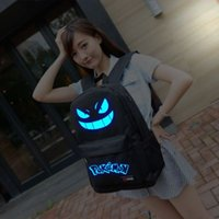 Wholesale 2016 poke Luminous backpacks colors fashion cartoon school bags for girls and boys Classical Design High capacity Bags poke nylon bag