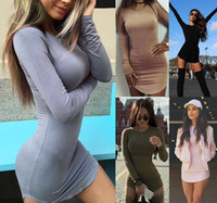 adult color t shirt - T Shirt Dress Hot Autumn Women Long Sleeve Bodycon Mini Dress Casual Solid Color O Neck Side Split Night Club Party Dress