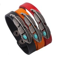 Wholesale Couple Bracelet Gift Set - Alloy turquoise feathers leather bracelets Retro hand strap Couples wristband jewelry Girls gift 3 colors mixed batch