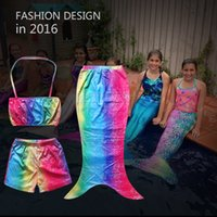 Wholesale Girls Kids Swimmable Mermaid Tail Swimwear Children Bikini Bathing Suit Swimsuit Beach Wear Baby Swimming Costume for T DHL shipping