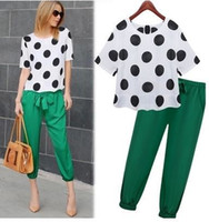 Wholesale 2016 Sport Suit Women Pullovers Polka Dot Print Blouse Green Pants Costumes Casual Short Sleeve Clothing Set Big Plus Size S XL