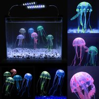 Wholesale Beauty Artificial Fake Jellyfish Acuario Aquarium Decoration Colors Fish Tank Acuarios Ornament Lifelike Aquarios Decorations