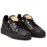 b iron - Hot Selling Fashion Shoes Men Women Casual Low Top Black Leather Sports Shoes Double Zipper Flat Shoes Men Sneakers GZ Iron sheets Shoes
