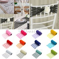 applique table runner - 5pcs Tulle Roll Spool Lace Roll quot x10YD Netting Fabric Tutu Skirt Chair Sash Bow Table Runner Lace Fabric Wedding Decorations Top quality