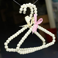 Wholesale New Fashion Elegant Plastic Pearl Bow Clothes Hangers For Baby Kid Children